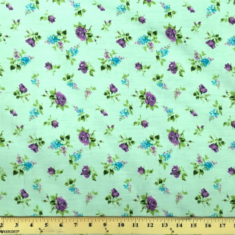 Delilah green print fabric cotton polyester broadcloth by for Cotton fabric by the yard