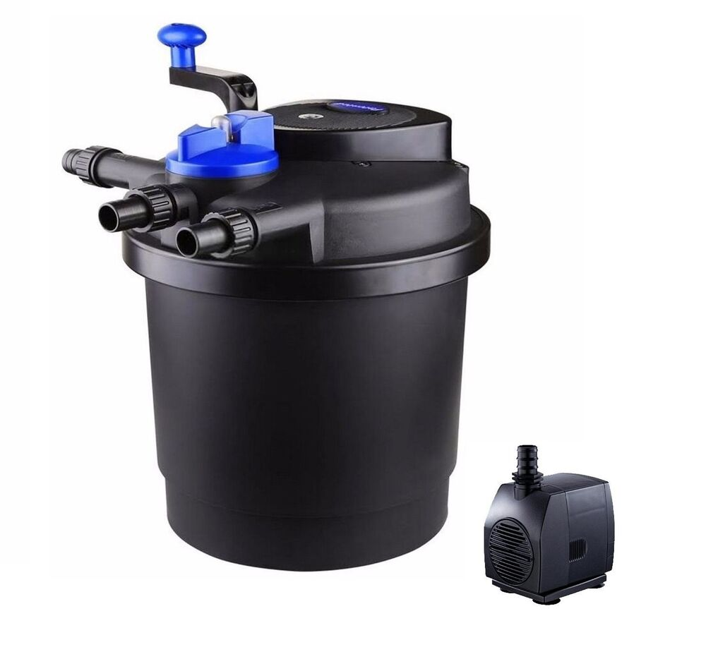 New 1600 gallon uv sterilizer bio pond filter w 13 watt for Pond pump with uv filter
