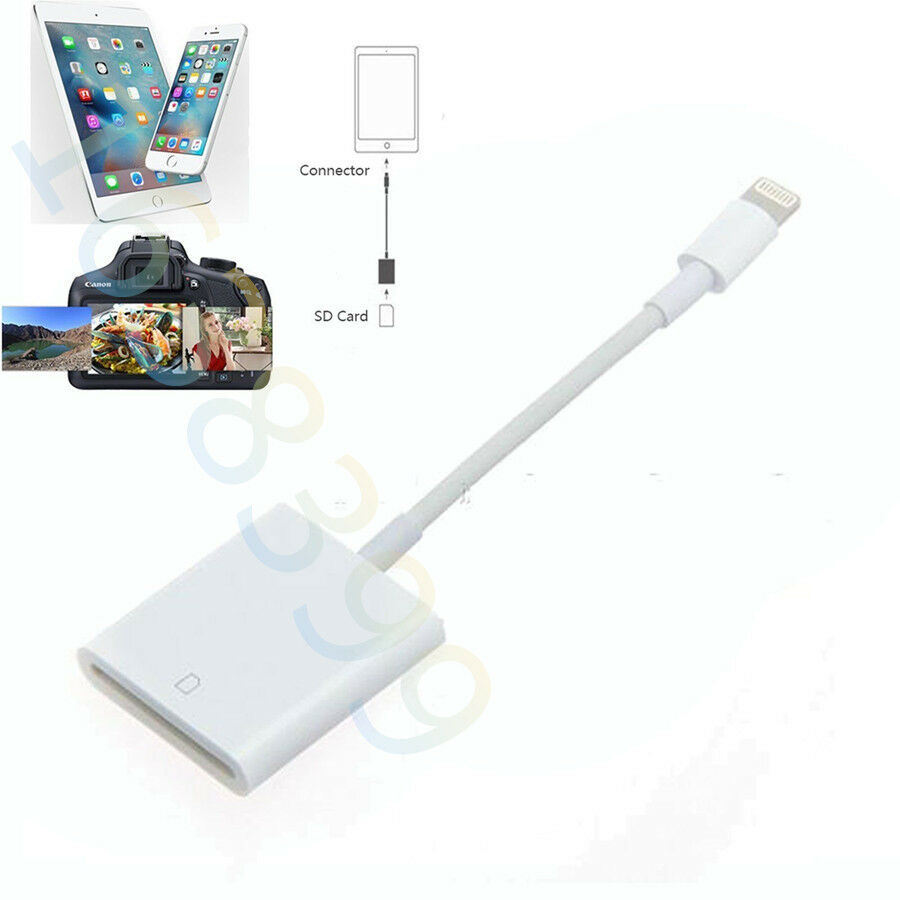 lightning to sd card camera reader adapter for iphone 6 6s plus ipad 4 mini air ebay. Black Bedroom Furniture Sets. Home Design Ideas