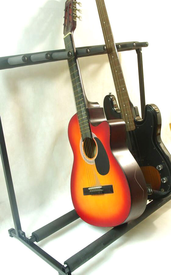multiple 7 guitar stand rack storage electric acoustic guitar organizer ebay. Black Bedroom Furniture Sets. Home Design Ideas