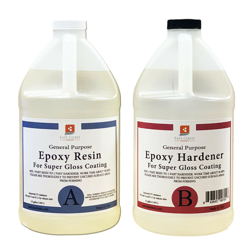 epoxy resin 4 gal kit crystal clear super gloss coating and table tops ebay. Black Bedroom Furniture Sets. Home Design Ideas