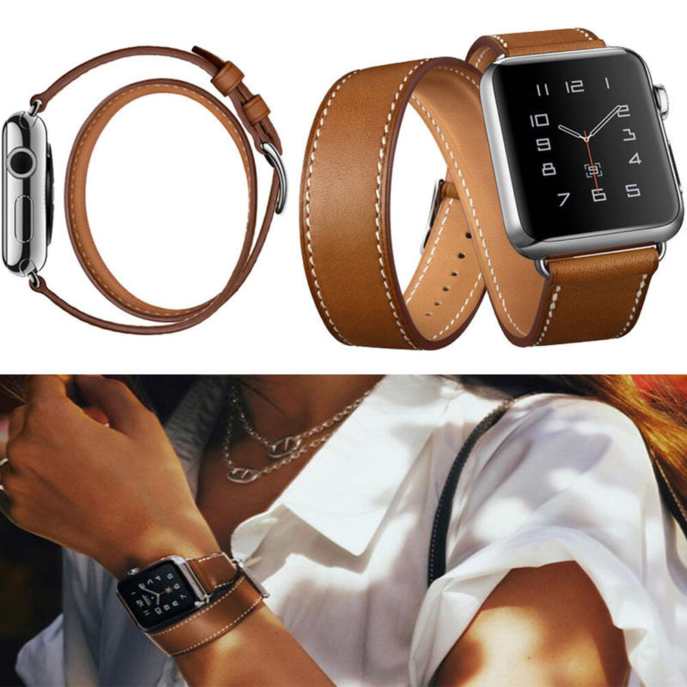 Leather strap double tour bracelet watch band for apple watch iwatch 38 42mm new ebay for Leather strap watches