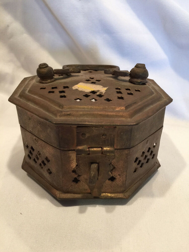Collectible Vintage Brass Cage Octagon Trinket Box Made In