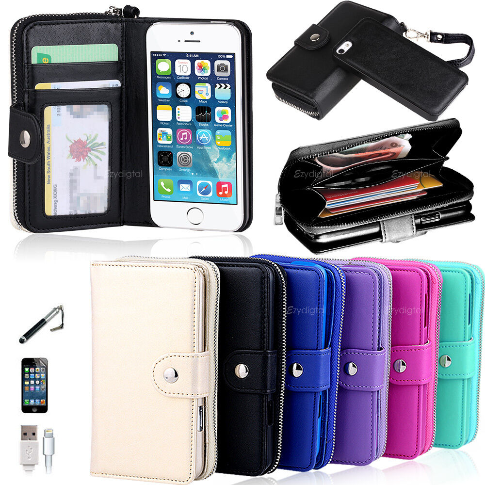 iphone 6 plus wallets new all in one zip purse wallet leather cover for 15049