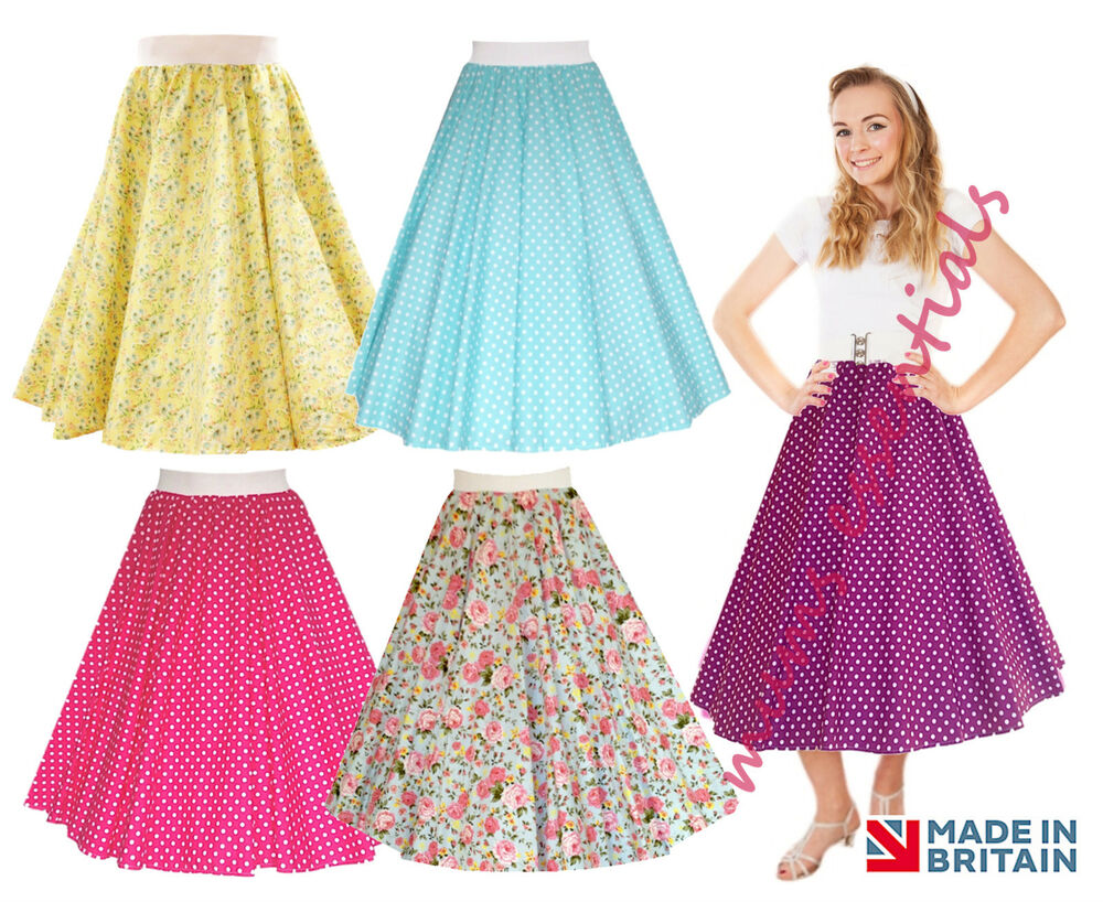 Ladies 1950 S 50 S Grease Style Polka Dot 24 Quot Length Skirts
