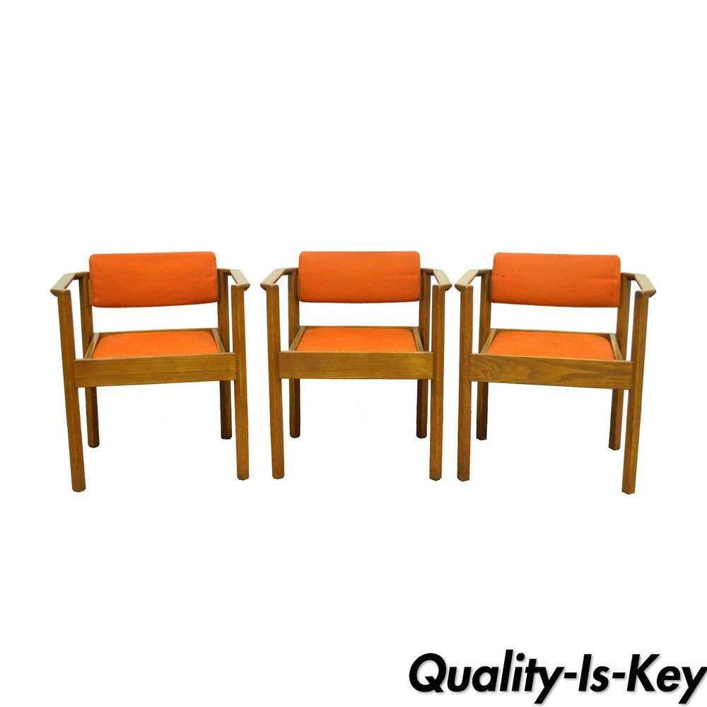3 Vintage Kimball Mid Century Modern Oak Stacking Dining Arm Chairs Danish  Style - Kimball Furniture EBay