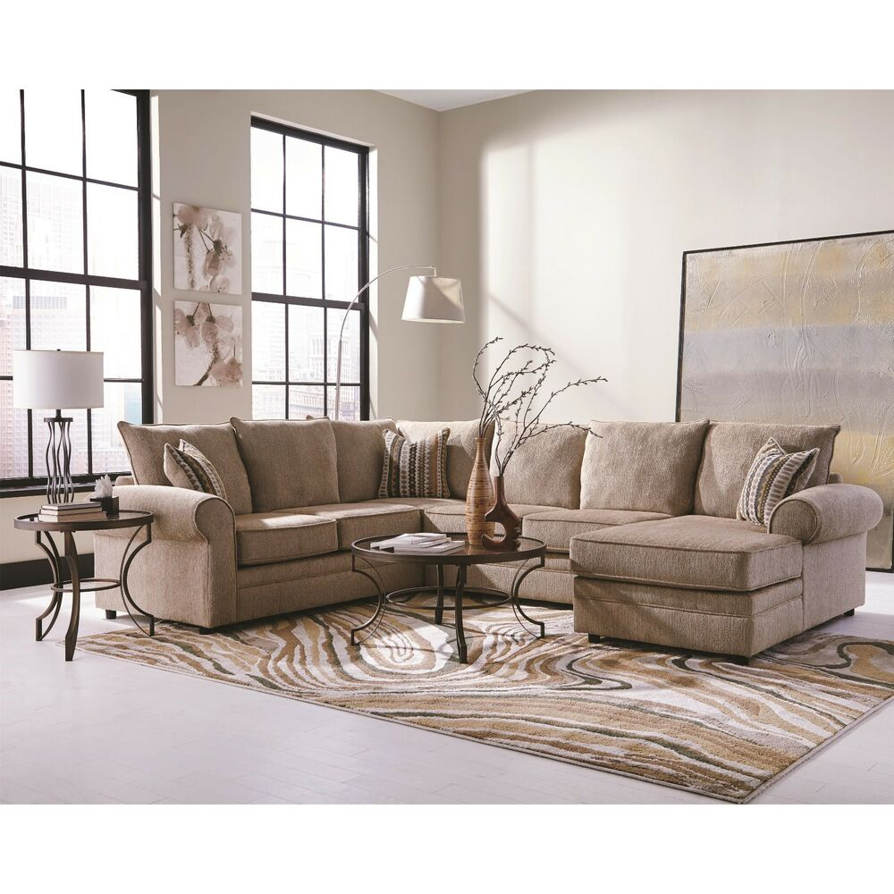 Big cream chenille herringbone sofa sectional chaise for Living room sectionals