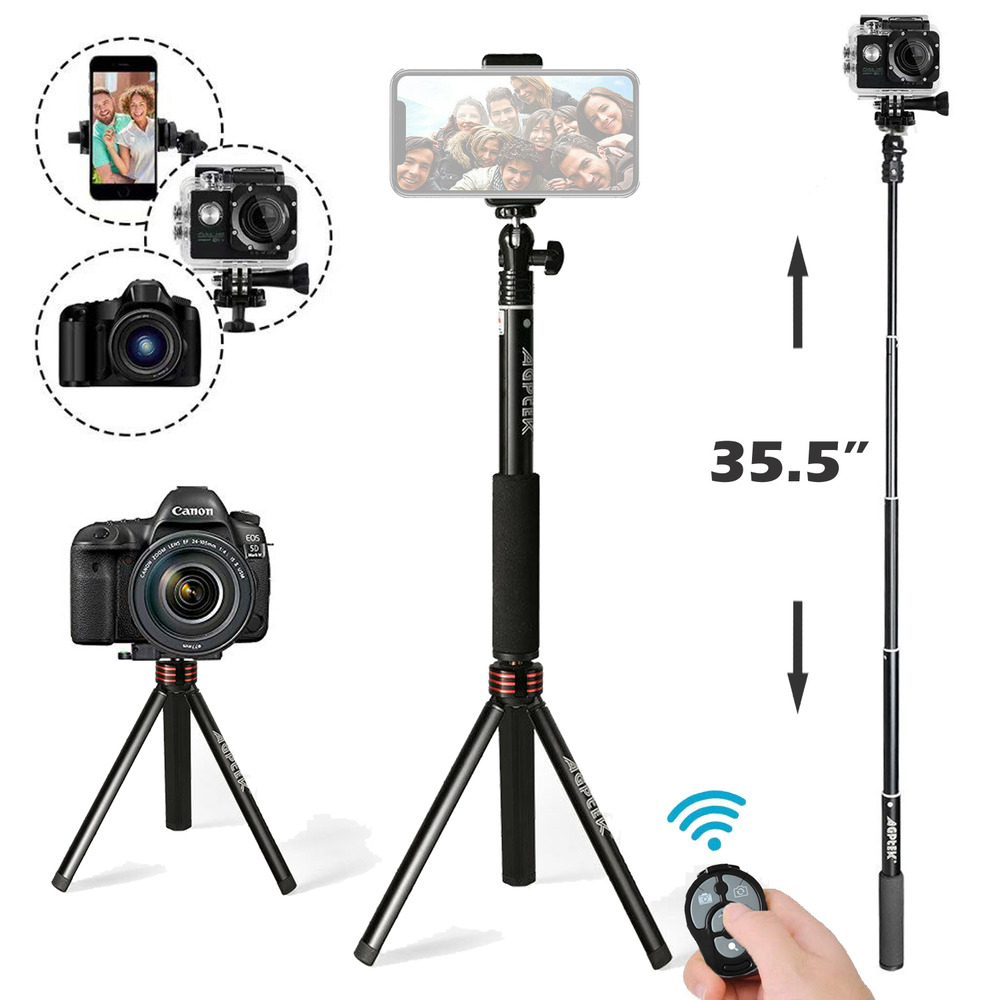 wireless extendable selfie stick w bluetooth remote tripod monopod phone gogro ebay. Black Bedroom Furniture Sets. Home Design Ideas