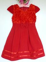 Girls 3866 Red Bow Flower PARTY DRESS CLOTHES AGE 4 - 12 Years UK New