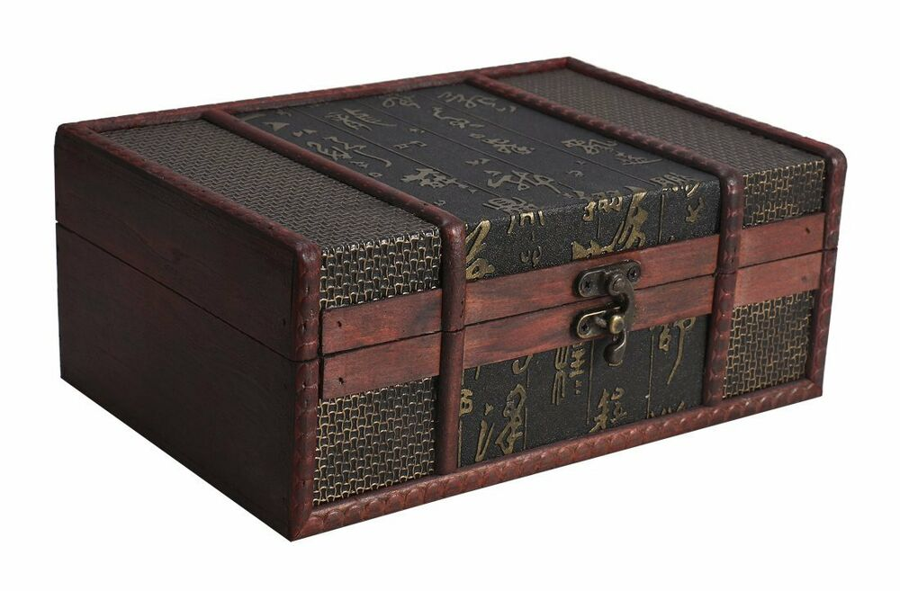 Decorative Box Chinese Style Small Vintage Storage Treasure Wooden Gift Decor Ebay