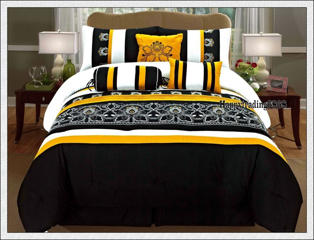 Black Yellow White Embroidery 7pc* KING QUEEN Comforter