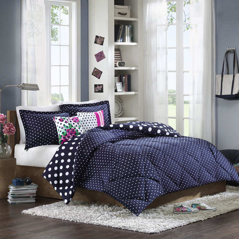 Beautiful Navy white Polka Dots Comforter Full Queen Twin ...
