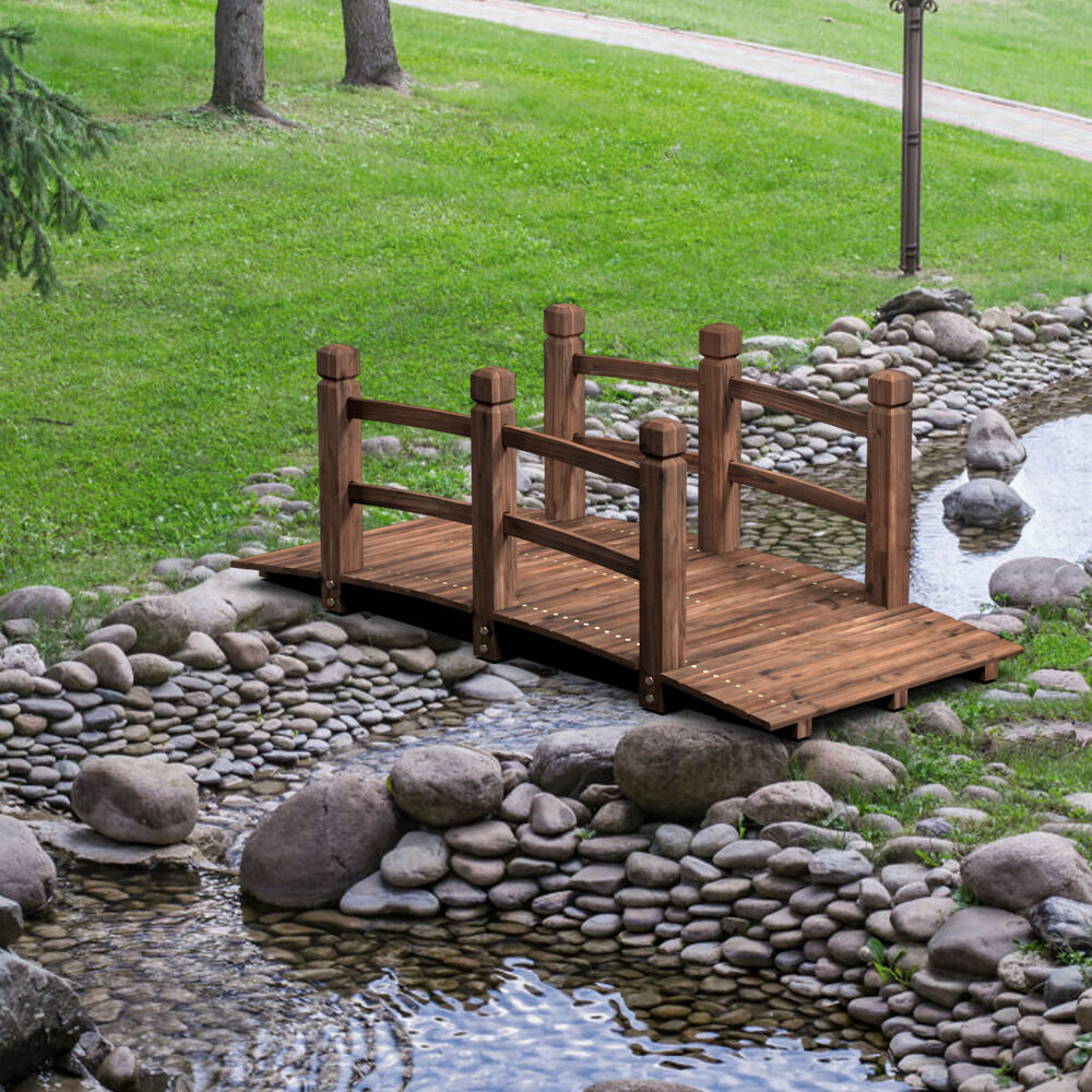 Small Bridges: 5' Wooden Bridge Stained Finish Decorative Solid Wood
