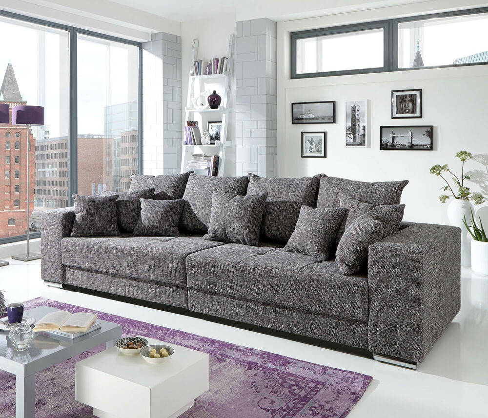 Bigsofa Adria Big Sofa Couch In Webstoff Graubraun Mit