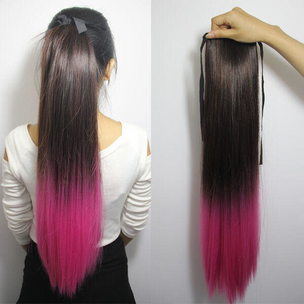 "24"" Straight Ombre Dip Dye Party Clip In Ponytail Hair ..."