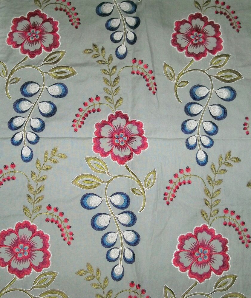 Silk loom julip embroidered cotton linen fabric yards