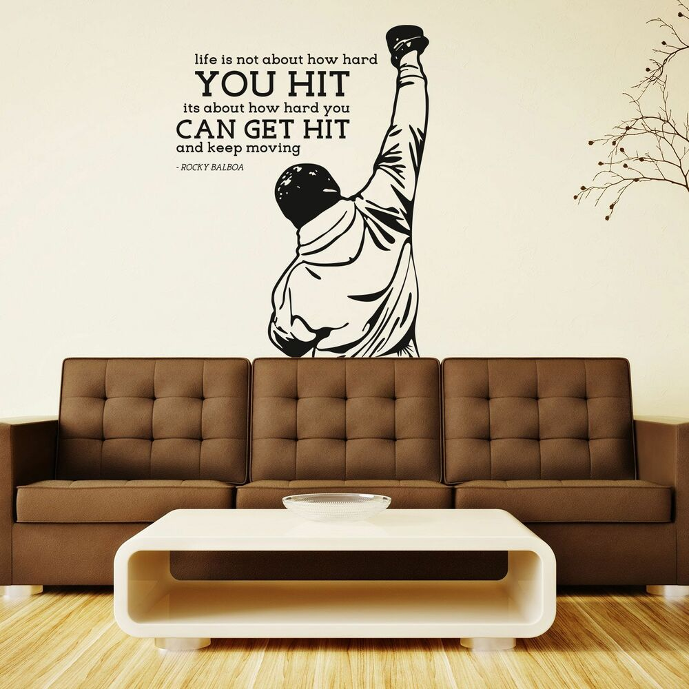 xxl rocky balboa get hit motivation sport film wandtattoo. Black Bedroom Furniture Sets. Home Design Ideas