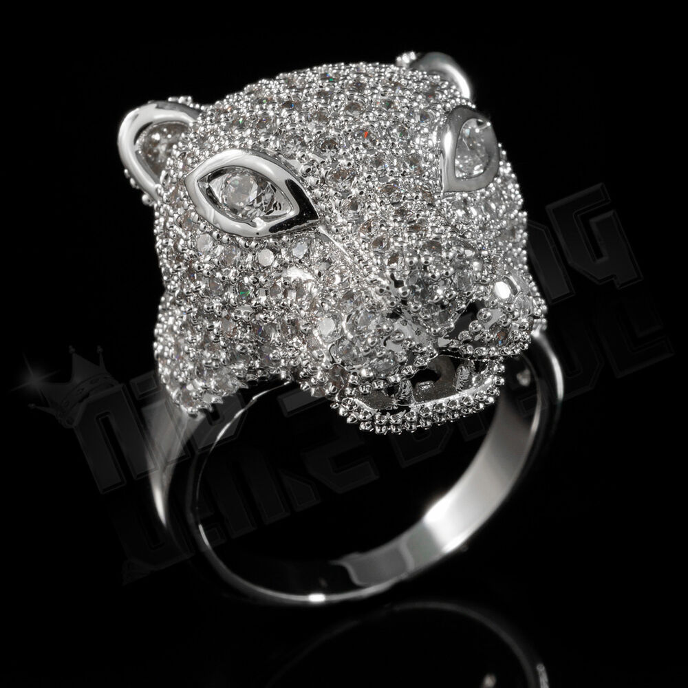 18k white gold plated iced out cz panther jaguar band mens