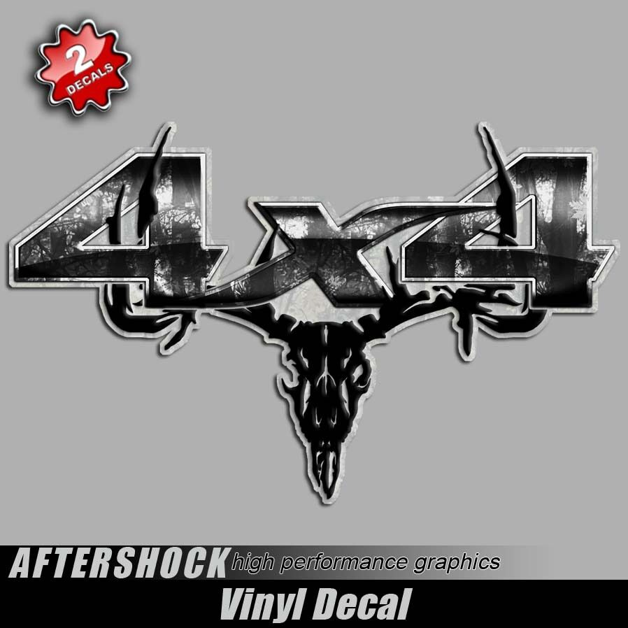 Details about 4x4 gray camo deer skull truck decal archery hunting off road sticker