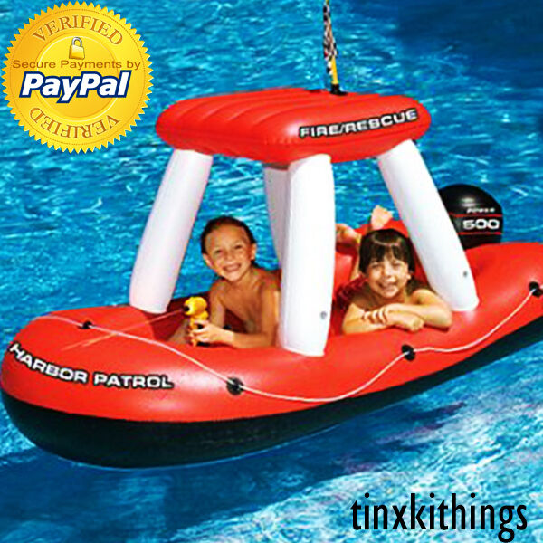 Inflatable Kids Birthday Chair: Kids Inflatable Boat Pool Toy Float Large Ride On Raft