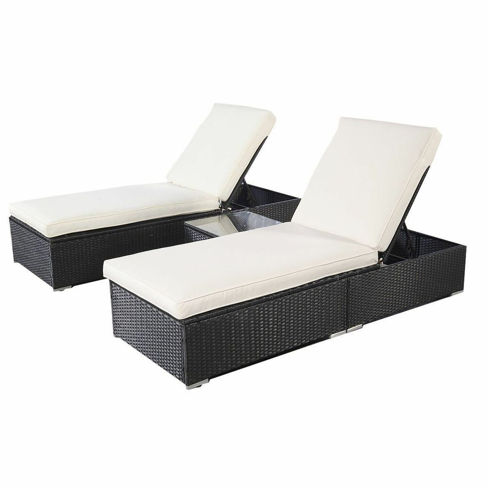Wicker rattan lounge sofa chaise chair bed set patio for Outdoor lounge furniture