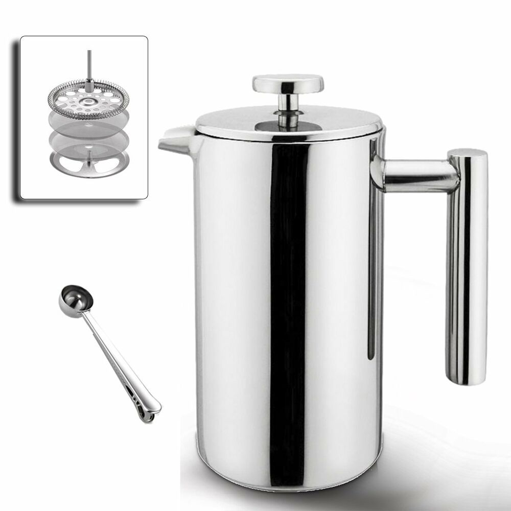 highwin 8 cup 34oz double wall stainless steel french coffee press maker plunger ebay. Black Bedroom Furniture Sets. Home Design Ideas