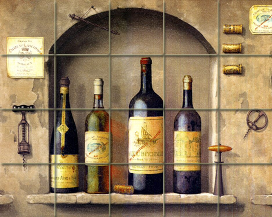 Art wine bottles arch mural ceramic backsplash kitchen for Ceramic tile mural backsplash