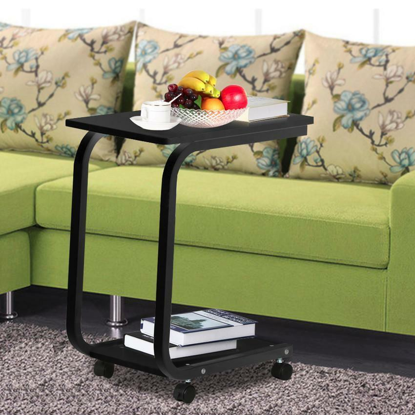sofa side table tray end table slide under couch with wheels laptop snack wood ebay. Black Bedroom Furniture Sets. Home Design Ideas