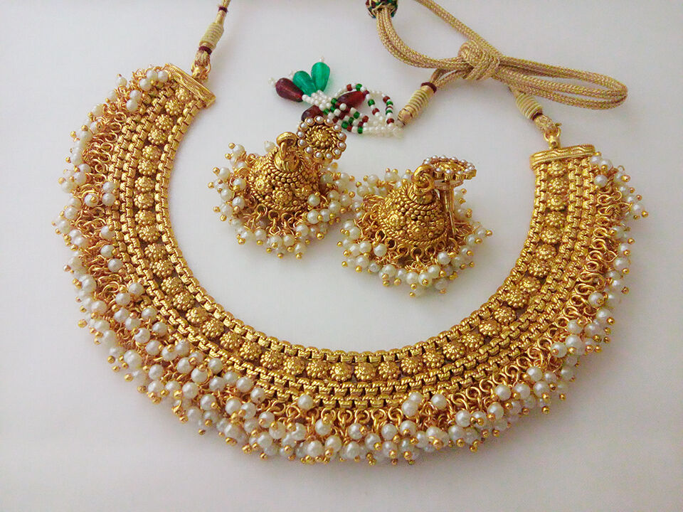 Indian fashion jewelry necklace set bollywood ethnic gold for Is gold plated jewelry worth anything