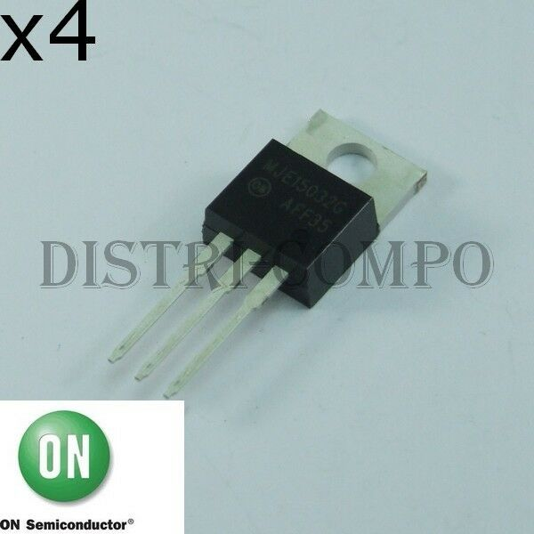 MJE15032G Transistor simple bipolaire NPN 250V 8A TO-220 ONS (Lot de 4)