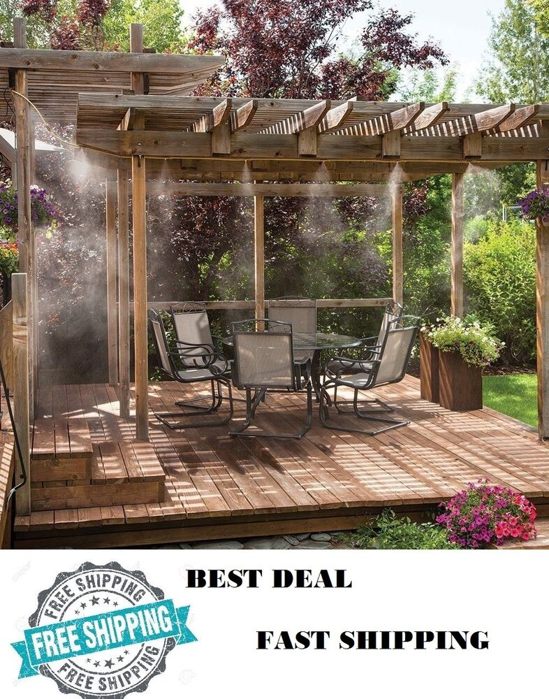 Outdoor misting system patio mist cooling mister kit air for Garden decking kits on ebay
