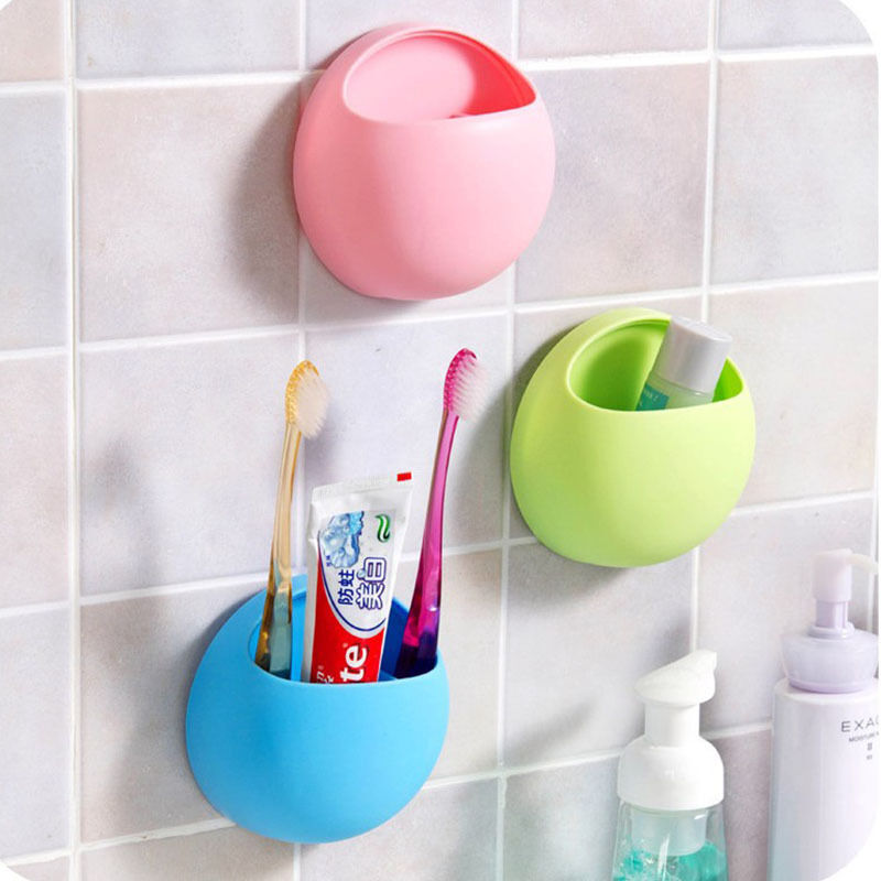 Bathroom toothbrush holder wall mount suction cup toothpaste storage