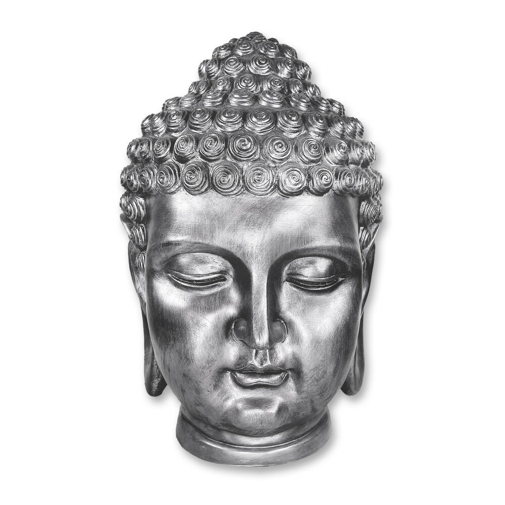 buddha buddhakopf design figur kopf skulptur xxl deko altsilber 50 cm ebay. Black Bedroom Furniture Sets. Home Design Ideas