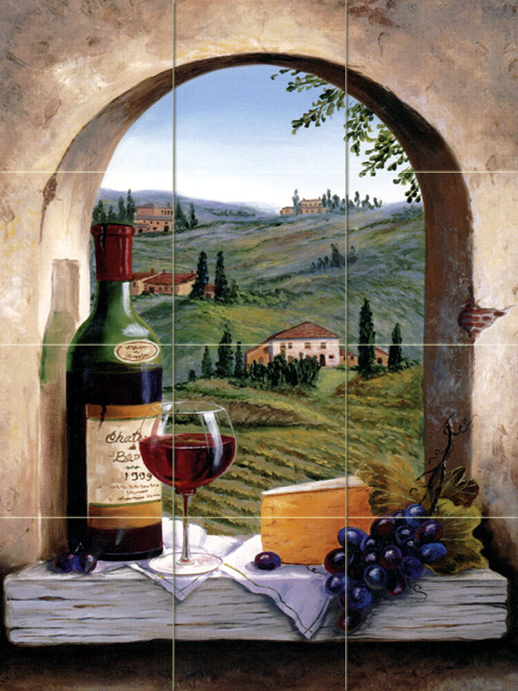 X 17 wine grape art arch mural ceramic backsplash for Artwork on tile ceramic mural