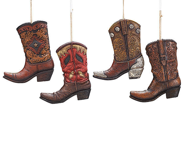 NEW Large Cowboy Boot Christmas Tree Ornament Resin