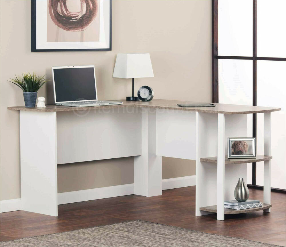 White l shaped corner desk computer office secretary White l shaped desk