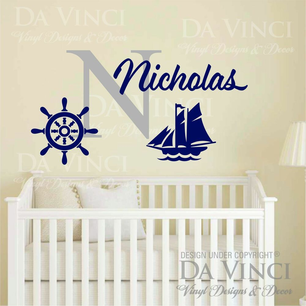 Name Wall Decals For Nursery Tags: Custom Name Wall Decal Sticker Monogram Vinyl Ship