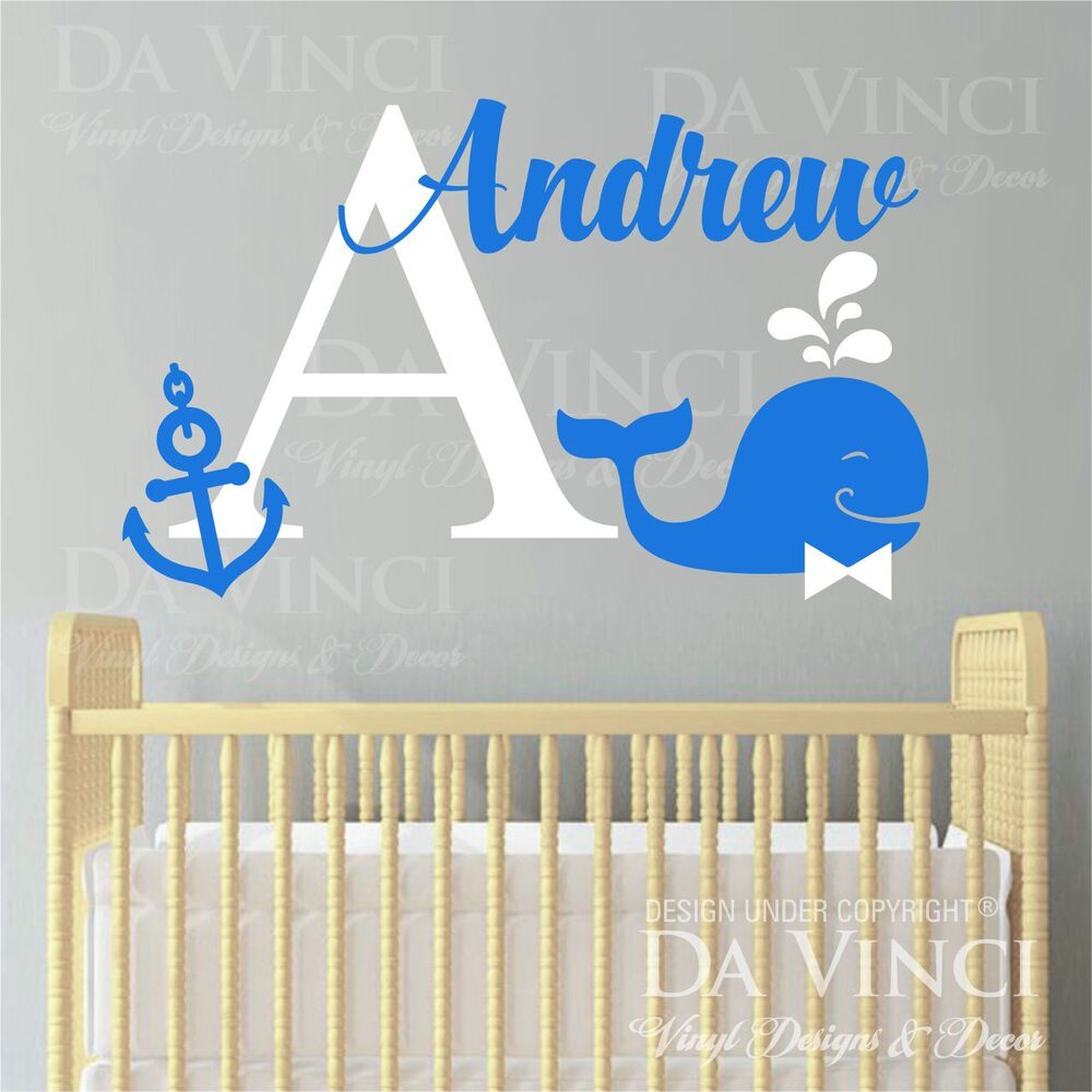 custom name wall decal sticker monogram vinyl whale nautical baby room