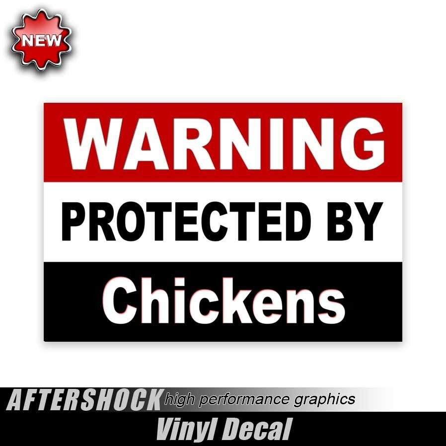 Tractor Pto Warning Decals : Warning protected by chickens sticker funny farm tractor