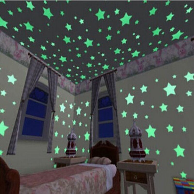 100pcs 3d colored stars sticker glow in the dark wall decal home