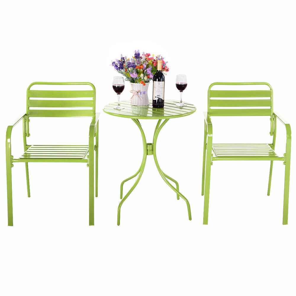 Costway 3pc Bistro Table Chair Furniture Set Table Patio