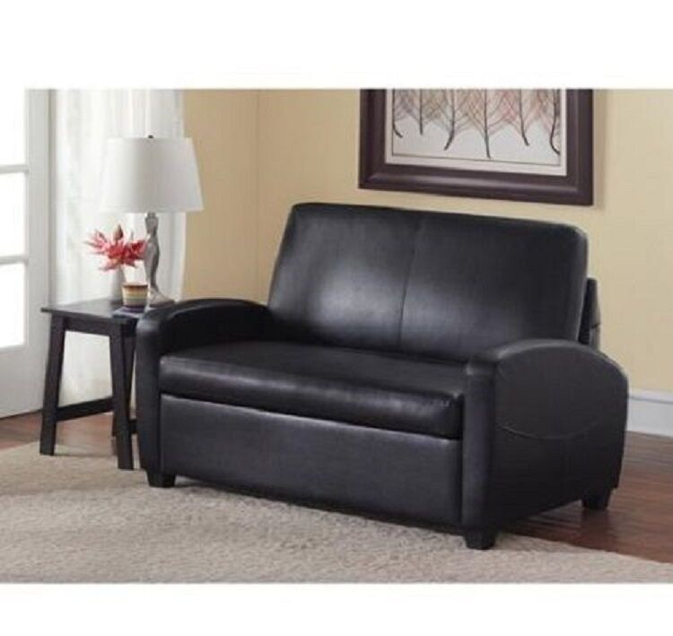 Sofa bed sleeper sofabed pull out couch faux leather convertible loveseat new ebay Pull out loveseat sofa bed