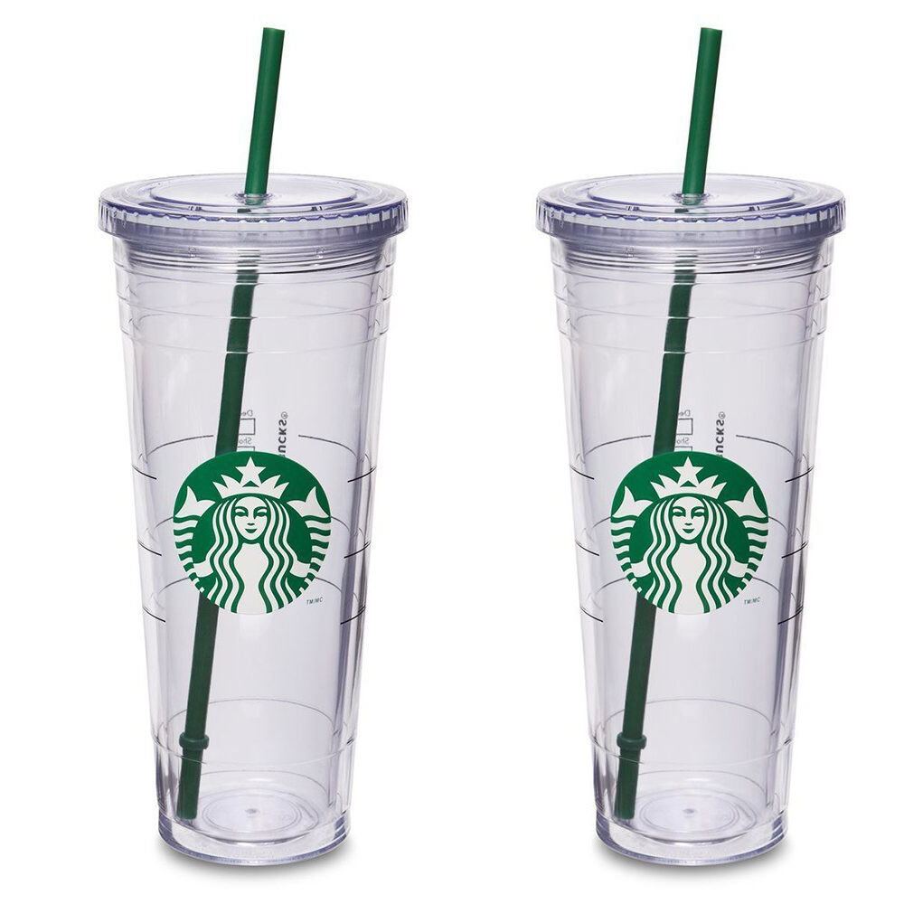 2x Starbucks Reusable Cold Cup Venti Coffee Clear Siren