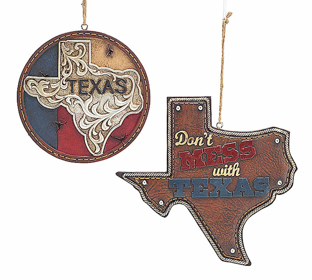 New set of 2 texas large christmas tree ornaments western for Cowboy decor