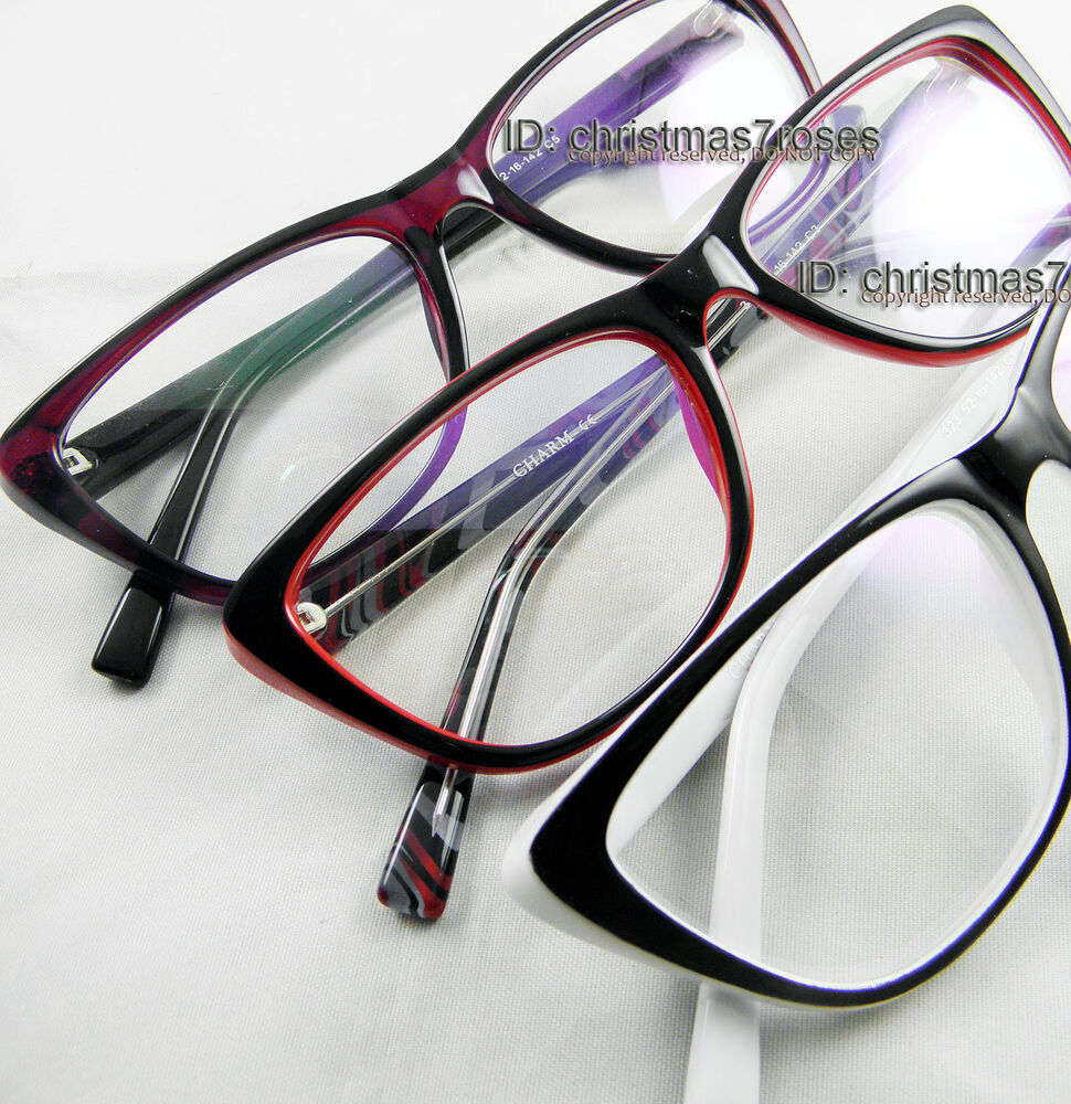 Plastic Eyeglass Frame Polish : Women Cat eye Eyeglass frame Plastic Vintage style black ...