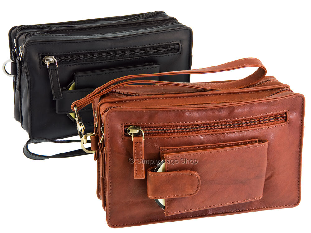 f636b75e2a72 Details about Visconti Mens Compact Soft Real Leather Wrist Bag With  Detachable Strap - 18233