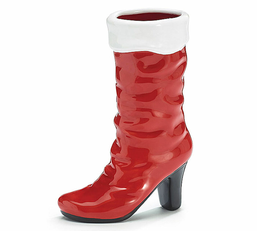 Mrs claus red ceramic high heel boot vase burton
