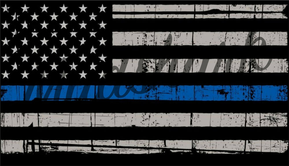 Blue Lives Matter Police Rustic Flag Sticker Vinyl