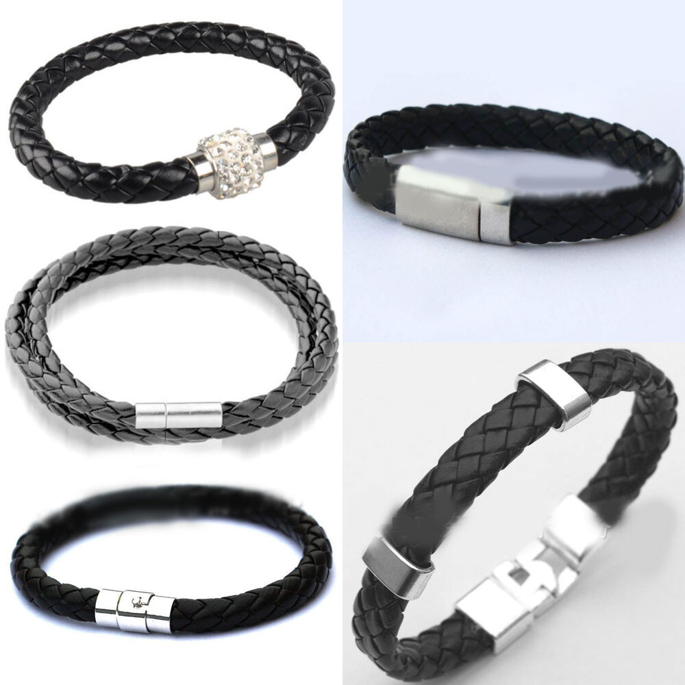Leather Wrap Charm Bracelet: Unisex Leather Wrap Wristband Cuff Magnetic Buckle Anchor