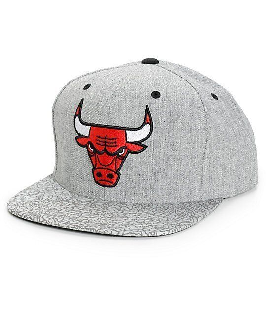 395e440477d Details about MITCHELL   NESS CHICAGO BULLS GREY CRACKLE SNAPBACK HAT CAP  100% AUTHETIC NEW